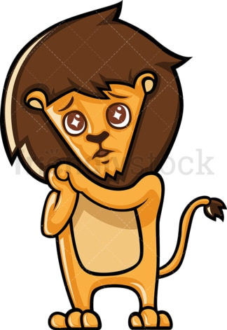 Cute lion with watery eyes. PNG - JPG and vector EPS (infinitely scalable).