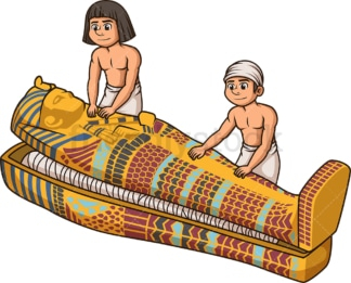 Egyptians closing a sarcophagus. PNG - JPG and vector EPS file formats (infinitely scalable). Image isolated on transparent background.