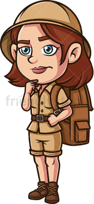 Female explorer contemplating. PNG - JPG and vector EPS (infinitely scalable).