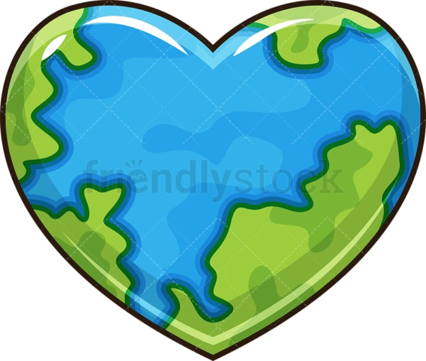 Heart shaped earth. PNG - JPG and vector EPS file formats (infinitely scalable). Image isolated on transparent background.