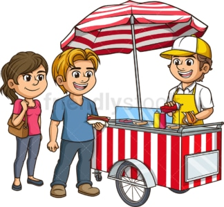 Hot dog cart with customers. PNG - JPG and vector EPS (infinitely scalable).