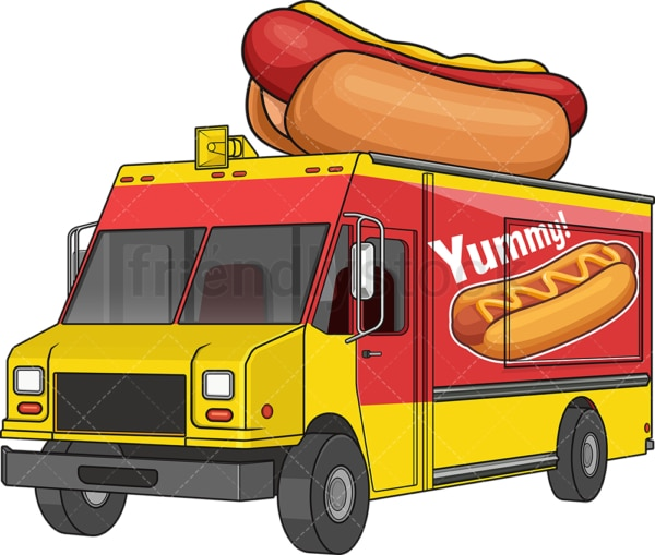 Hot dog food truck. PNG - JPG and vector EPS file formats (infinitely scalable). Image isolated on transparent background.