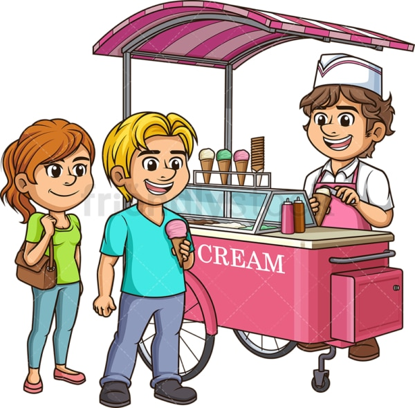 Ice cream cart with customers. PNG - JPG and vector EPS (infinitely scalable).