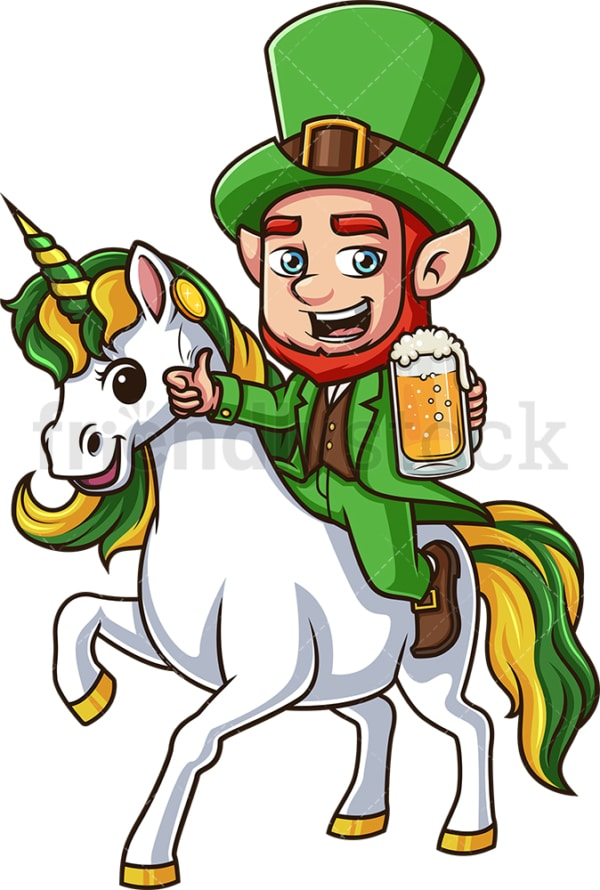 Leprechaun riding unicorn. PNG - JPG and vector EPS (infinitely scalable).