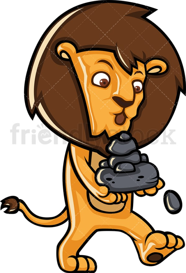 Lion carrying rocks. PNG - JPG and vector EPS (infinitely scalable).
