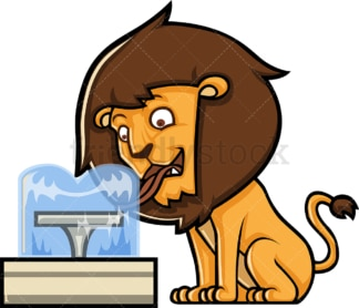Lion drinking from a water fountain. PNG - JPG and vector EPS (infinitely scalable).