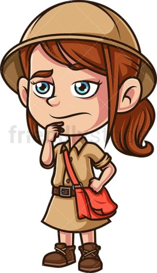 Little girl explorer wondering. PNG - JPG and vector EPS (infinitely scalable).
