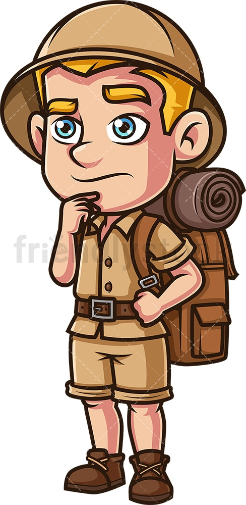 Male safari explorer thinking. PNG - JPG and vector EPS (infinitely scalable).