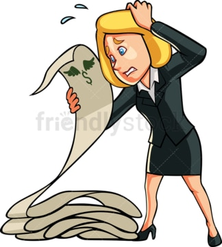 Panicked businesswoman with financial report. PNG - JPG and vector EPS file formats (infinitely scalable). Image isolated on transparent background.