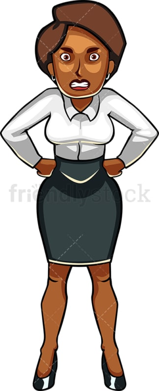 Pissed off black businesswoman. PNG - JPG and vector EPS file formats (infinitely scalable). Image isolated on transparent background.