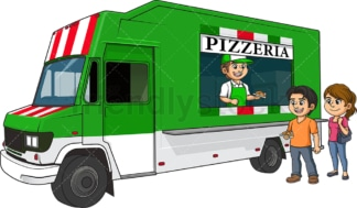 Pizza food truck with customers. PNG - JPG and vector EPS (infinitely scalable).