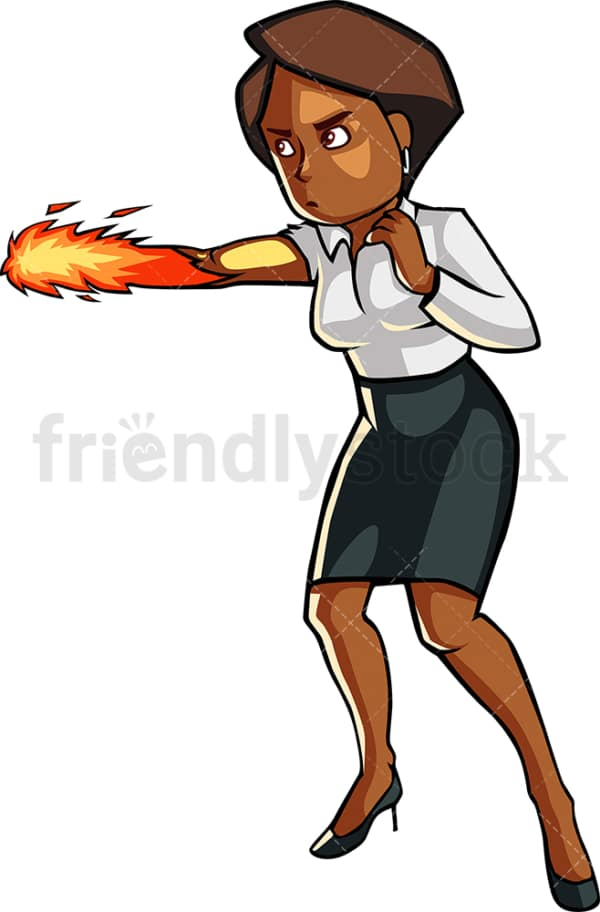 Powerful black businesswoman. PNG - JPG and vector EPS file formats (infinitely scalable). Image isolated on transparent background.