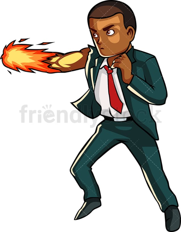 Strong black businessman. PNG - JPG and vector EPS file formats (infinitely scalable). Image isolated on transparent background.
