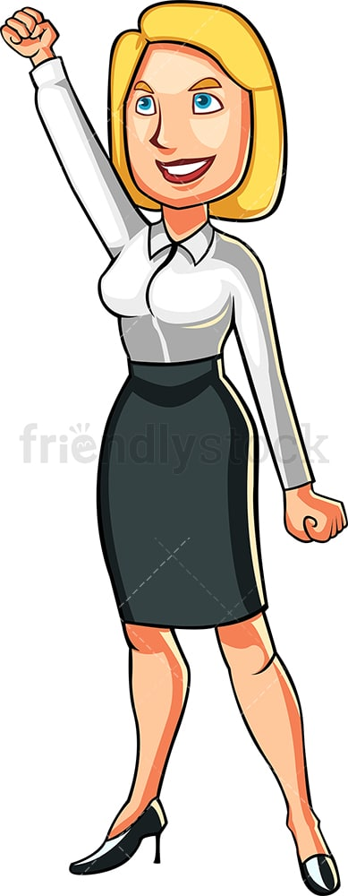 Triumphant businesswoman looking skyward. PNG - JPG and vector EPS file formats (infinitely scalable). Image isolated on transparent background.