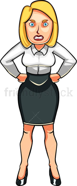 Very angry business woman. PNG - JPG and vector EPS file formats (infinitely scalable). Image isolated on transparent background.