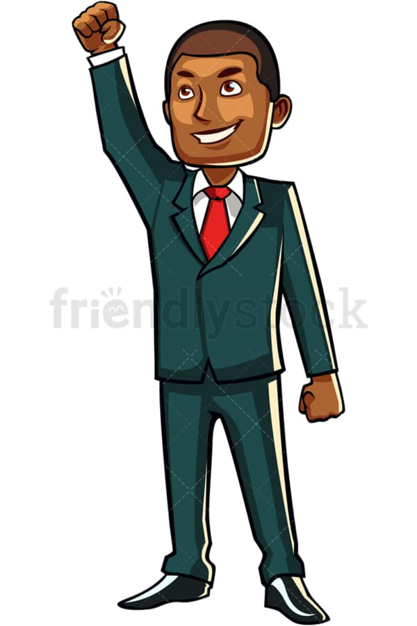 Victorious black businessman looking up. PNG - JPG and vector EPS file formats (infinitely scalable). Image isolated on transparent background.