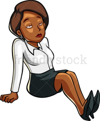 Weary black woman lying down. PNG - JPG and vector EPS file formats (infinitely scalable). Image isolated on transparent background.