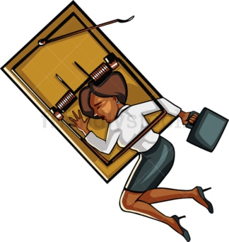 Black business woman caught in a trap. PNG - JPG and vector EPS file formats (infinitely scalable). Image isolated on transparent background.