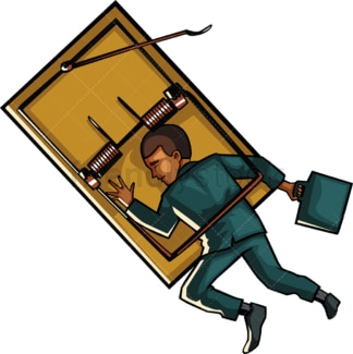 Black businessman in a mousetrap. PNG - JPG and vector EPS file formats (infinitely scalable). Image isolated on transparent background.