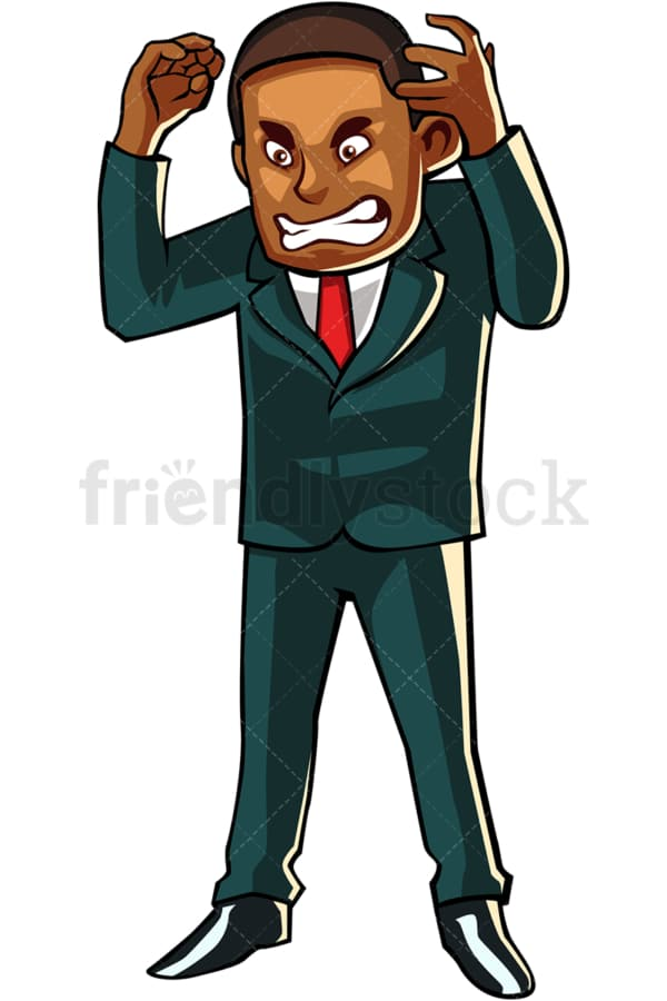 Black businessman losing it. PNG - JPG and vector EPS file formats (infinitely scalable). Image isolated on transparent background.