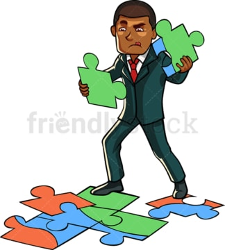 Black businessman solving a puzzle. PNG - JPG and vector EPS file formats (infinitely scalable). Image isolated on transparent background.