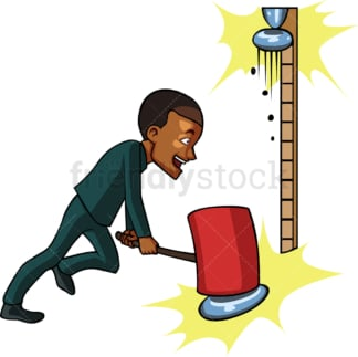Black businessman strength-tester game. PNG - JPG and vector EPS file formats (infinitely scalable). Image isolated on transparent background.