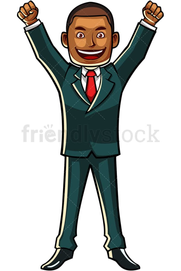Black businessman with fists in the air. PNG - JPG and vector EPS file formats (infinitely scalable). Image isolated on transparent background.