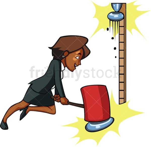 Black businesswoman strongman game. PNG - JPG and vector EPS file formats (infinitely scalable). Image isolated on transparent background.
