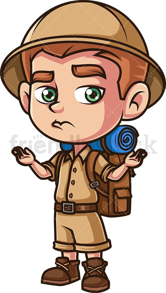 Boy explorer shrugging. PNG - JPG and vector EPS (infinitely scalable).