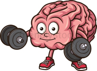 Brain lifting weights. PNG - JPG and vector EPS (infinitely scalable).
