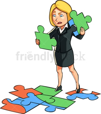 Business woman trying to solve puzzle. PNG - JPG and vector EPS file formats (infinitely scalable). Image isolated on transparent background.