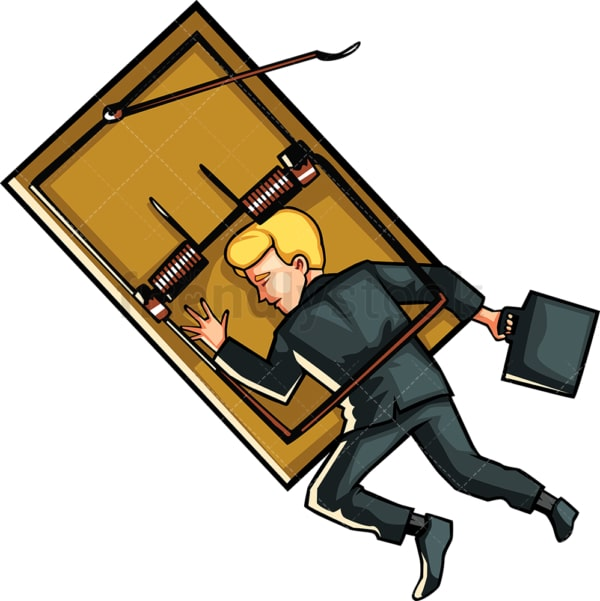 Businessman caught in mouse trap. PNG - JPG and vector EPS file formats (infinitely scalable). Image isolated on transparent background.
