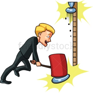 Businessman playing high striker. PNG - JPG and vector EPS file formats (infinitely scalable). Image isolated on transparent background.