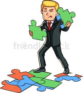 Businessman solving puzzle. PNG - JPG and vector EPS file formats (infinitely scalable). Image isolated on transparent background.