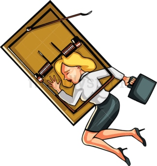 Businesswoman caught in mouse trap. PNG - JPG and vector EPS file formats (infinitely scalable). Image isolated on transparent background.