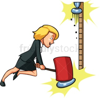 Businesswoman playing the strongman game. PNG - JPG and vector EPS file formats (infinitely scalable). Image isolated on transparent background.