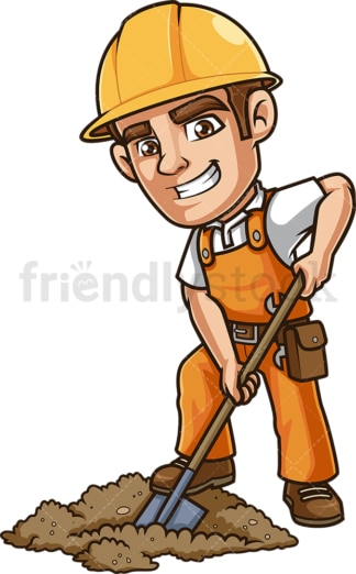 Construction worker digging hole with shovel. PNG - JPG and vector EPS.