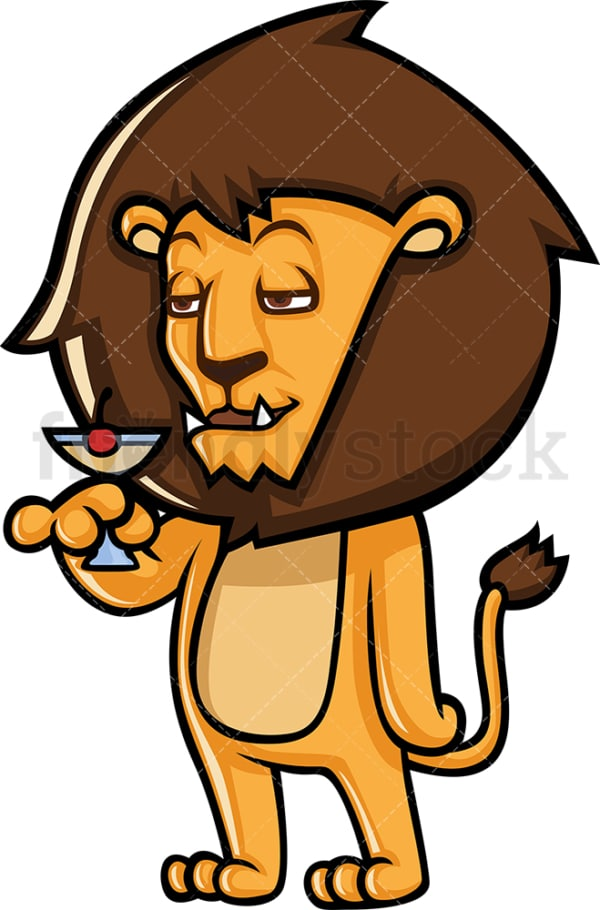 Cool lion drinking wine. PNG - JPG and vector EPS (infinitely scalable).