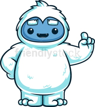 Cute yeti monster pointing up. PNG - JPG and vector EPS (infinitely scalable).