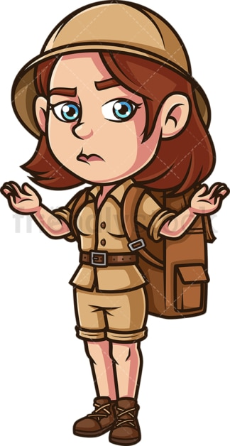 Female safari explorer shrugging. PNG - JPG and vector EPS (infinitely scalable).