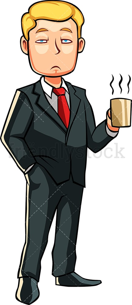 Half asleep man holding cup of coffee. PNG - JPG and vector EPS file formats (infinitely scalable). Image isolated on transparent background.