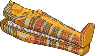 Half open egyptian sarcophagus. PNG - JPG and vector EPS file formats (infinitely scalable). Image isolated on transparent background.