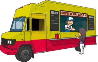 Hamburger food truck with customer. PNG - JPG and vector EPS (infinitely scalable).