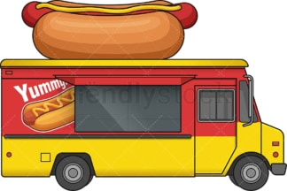 Hot dog food truck side view. PNG - JPG and vector EPS file formats (infinitely scalable). Image isolated on transparent background.