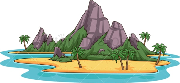 Island with rock mountains. PNG - JPG and vector EPS (infinitely scalable).