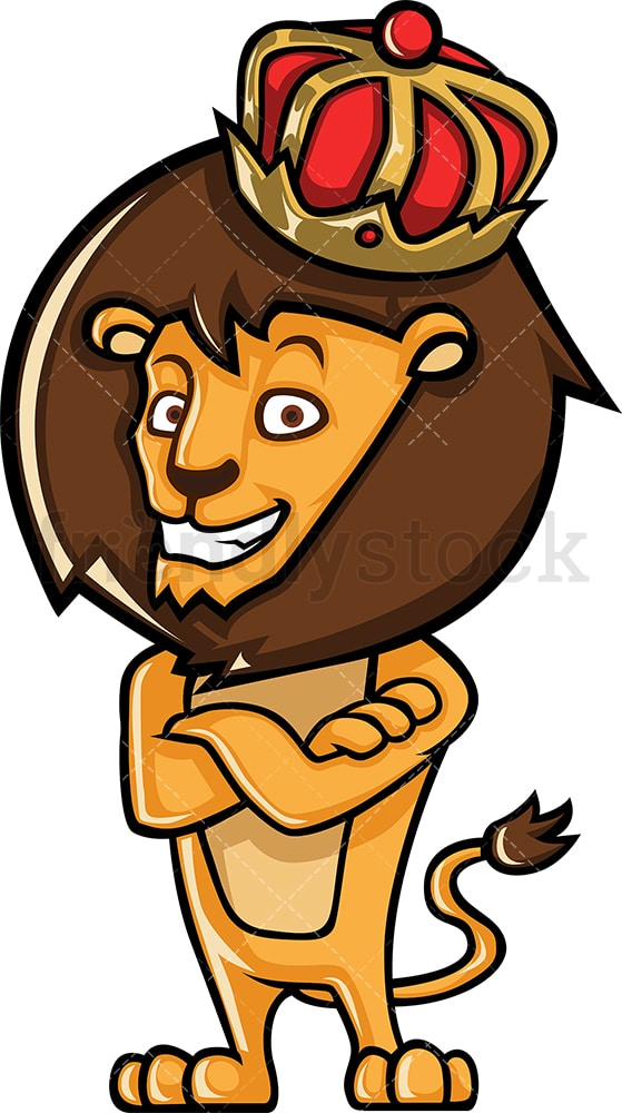 Crown wearing lion king. PNG - JPG and vector EPS (infinitely scalable).
