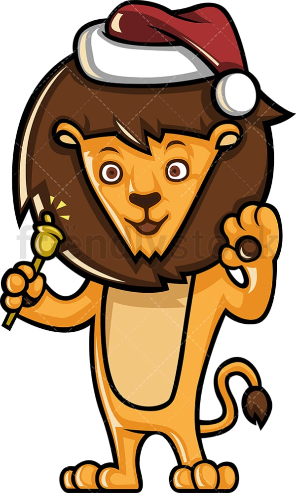 Lion wearing santa hat. PNG - JPG and vector EPS (infinitely scalable).
