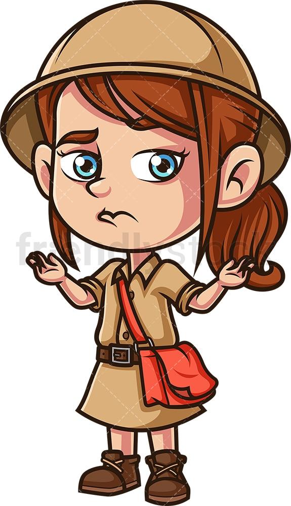 Little girl explorer shrugging. PNG - JPG and vector EPS (infinitely scalable).