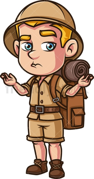 Male safari explorer shrugging. PNG - JPG and vector EPS (infinitely scalable).