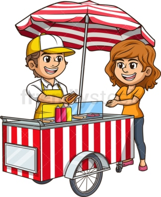 Man selling hot dog to woMan. PNG - JPG and vector EPS (infinitely scalable).